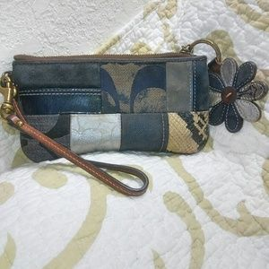Coach signature denim wristlet